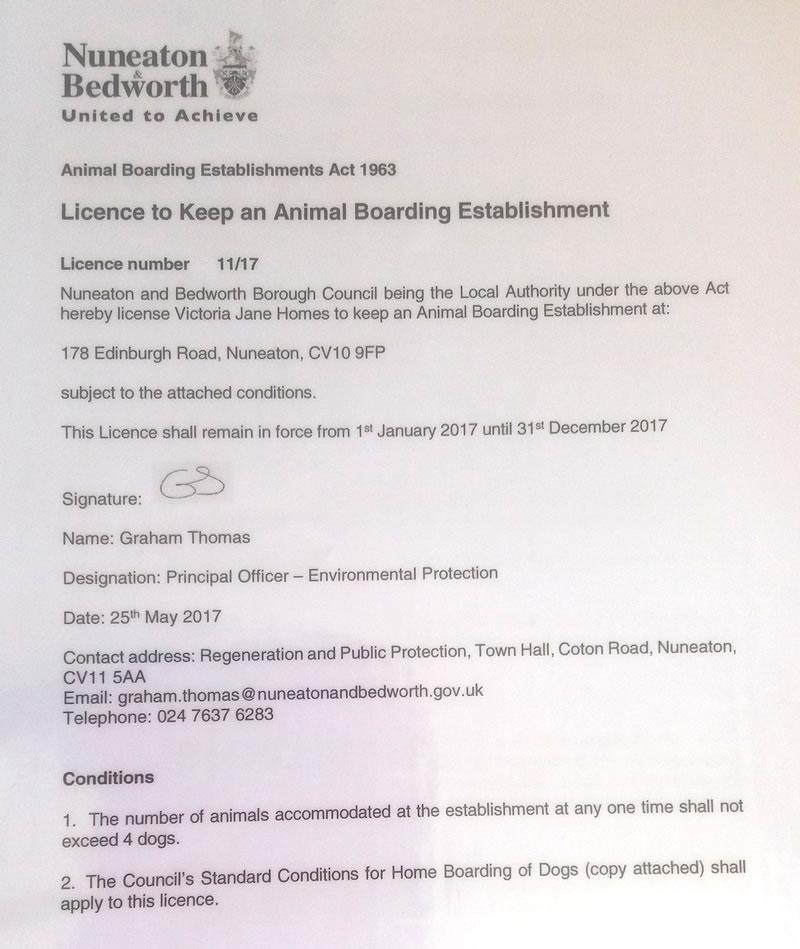 Dog Boarding Licence Uk